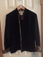 Classic Black Blazer Jacket with Leopard  Print Trim Size 12