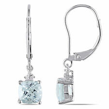 Amour 10k White Gold Aquamarine and Diamond Accent Earrings
