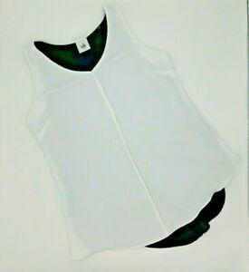 CAbi Womens Blouse Sz S White Black Domino Top Split Back Mesh Layer Style #3076