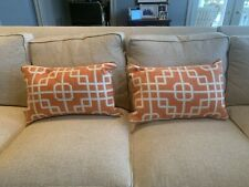 NEW Beautiful orange and white bolster pillows geometric (set of 2)