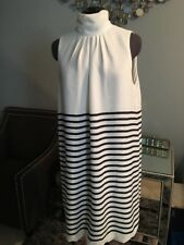 Zara Basic Women's Dress L White Stripe Silky Neck Pleated Bubble Hem Sleeveless
