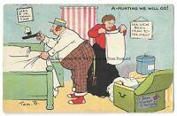 Artist Tom Browne 'A Hunting We Will Go!' 1905 Vintage Postcard 13.2