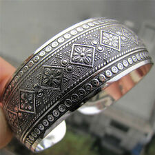 Antic Tibetan Silver Plated Tibet Totem Bangle Jewelry Cuff Wide Bracelet Women<