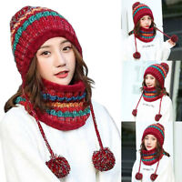 2PCS Women Knitted Wool Scarf and Beanie Hat Pompom Cap Warm Winter Scarves US