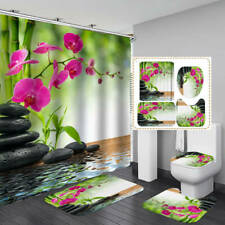 Bamboo Flower Stone Shower Curtain Bath Mat Toilet Cover Rug Bathroom Decor