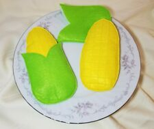 Felt pretend play food - CORN on the COB - embroidery - handmade NEW