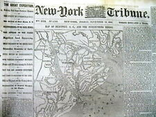 1861 Civil War newspaper Lrge MAP of BEAUFORT & Atlantic Coast of SOUTH CAROLINA