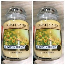 """"""" Flowers In The Sun """" Set Of 2- New Yankee Candle Large Jars 22Oz"""