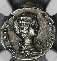 193 Julia Domna Denarius Roman Empire Vesta NGC XF Scarce Early Type (18032105C)