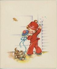 VINTAGE CUTE CHILD RED SAILOR SUIT NOSEGAY ROSE FLOWER PUPPY DOG NOTE CARD PRINT