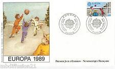 1989 ENVELOPPE ILLUSTRE FDC 1°JOUR**EUROPA.JEUX DE BALLE **TIMBRE Y/T2585