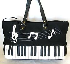 NEW BLACK+WHITE CANVAS+KEYBOARD+MUSIC NOTES CONVERTIBLE HAND BAG,PURSE