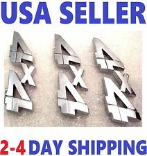 3X Chrome 4X4 EMBLEM 4 X 4 white / GMC car TRUCK logo DECAL SIGN ornament sv.