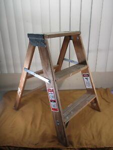Vintage Werner Wooden Wood PLANT STAND ? 3-Step Folding Ladder STRONG