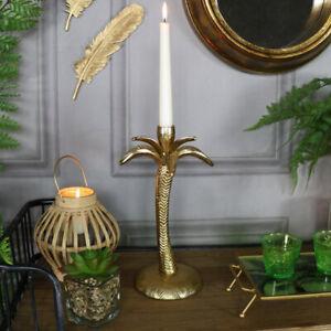 Vintage gold palm tree shape candlestick holder ornate table centre home gift