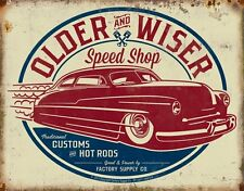 Tin Sign Hot Rod Speed Shop Distress Retro Vintage Metal Rat Man Cave Garage