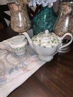 Grace's Teaware Green And White Teapot Fine Porcelain