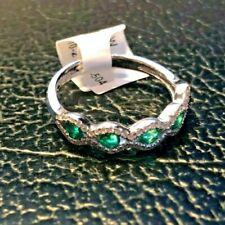 Emerald Diamond Natural 14K White Gold Band Brand New!