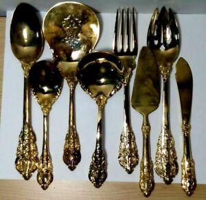 Godinger Baroque Gold Tone Flatware Serving Set - Lot of 8 Pieces