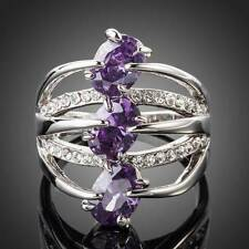 PLATINUM PURPLE CRYSTAL WITH CLEAR CRYSTAL ACCENTS RING SIZE 7.5 #R66