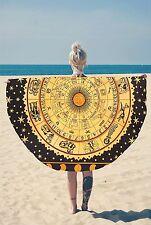 Indian cotton round zodiac mandala tapestry hippie beach blanket yoga mat throw