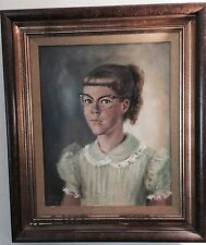 1955 Orig MARGARET KEANE / ULBRICH Oil Canvas Painting Girl: Big Cat Eye Glasses