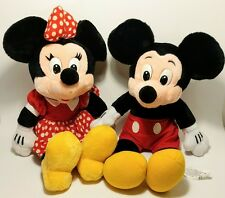 """Disney Mickey And Minnie Mouse Plush Stuffed Animals Dolls 16"""" Lot of 2 Vintage"""