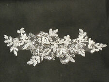 Ivory soft white bridal wedding beaded lace Applique/ floral lace motif.By piece