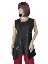 Gr.XL NEW JERSEY Top Long-Shirt Tunika ärmellos Schwarz Jersey