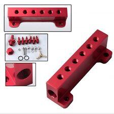 Aluminum Turbo Wastegate Bosst Vacuum Intake Manifold 6 Port 1/8 NPT Red