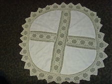 Round crochet vintage farm cottage chic round tablecloth 35 in scalloped edge