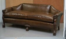 SUBLIME FULLY RESTORED REGENCY 1810 SOFA BROWN LEATHER CARVED HERMS STATUE FRAME