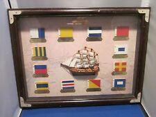 WOOD FRAMED NAUTICAL THEME SHADOW BOX MAYFLOWER FLAGS WORLD BAZAARS INC 12 X 16