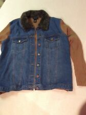 Lane Bryant Denim Vest With Sweater  Sweater Back With Fur Collar 18-20