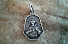 """ANTIQUE FRENCH CATHOLIC MARKED SILVER SCAPULAR MEDAL """"OUR LADY of MOUNT CARMEL"""""""