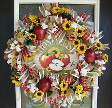 Country Apple Deco Mesh Front Door Wreath, Autumn Fall Decor, Farmhouse Home