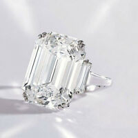 GIA 2.90 Ct Emerald Cut  Diamond Engagement Ring with Baguette G, VS1 14k White