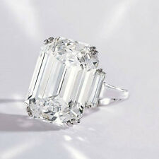 4.94 ct. Natural Emerald Cut Three Stone Diamond Engagement Ring J, VVS2 GIA