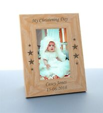 Personalised Christening Gift Engraved Wooden Photo Frame Christening Day