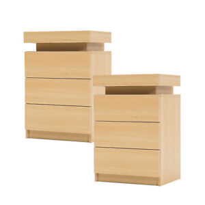 2x LaBella Bedside Tables 3 Drawers RGB LED Cabinet Nightstand Gloss OAK