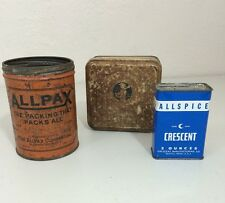 Tins Sentinel First Aid All Pax Orange Crescent All Spice Vintage Cans Lot of 3