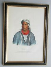 1843 Hand-Color LARGE FOLIO McKenney & Hall Indian Lithograph NO REPRO