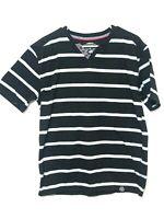 Denim & Rivets / MENS TEE SHIRT / Large / black w/ grey stripes