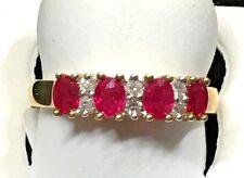 LADIES RUBY + DIAMOND RING/4 OVAL SHAPED STONES