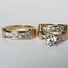3 pc his hers 14k yellow gold salita  engagement wedding band ring set size 6 95