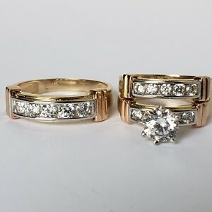 3 pc his hers 14k yellow gold salita  engagement wedding band ring set size 6 95