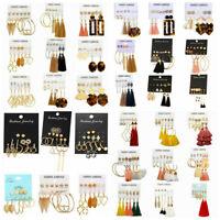 6Pairs Korean Style Earrings Set Tassel Crystal Ear Stud Dangle Hook Chic Women