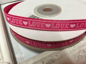 1 Metre Hot Pink Love Print Grosgrain Ribbon 8mm Cakes Bow Dummy Gift Wrap
