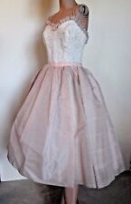 Vintage 50s Cream Lace & Dusty Pink Organza Spaghetti Strap Prom Dress