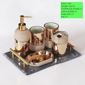 Luxury Golden Ceramic Wash Set Bathroom Six piece set Soap Dispenser Gargle Cup
